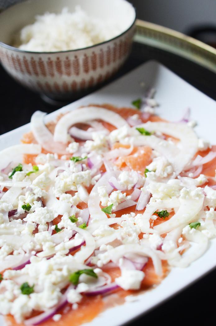 salade saumon fumé feta