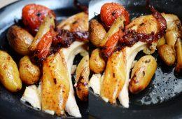 poulet roti lard et tomates recette fere